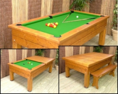 BWL 6ft Evergreen Outdoor Pool Table + Dining Top + Benches