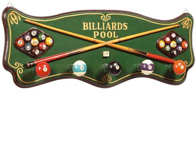 3D Hand Carved and Painted - Billiards Coat Rack