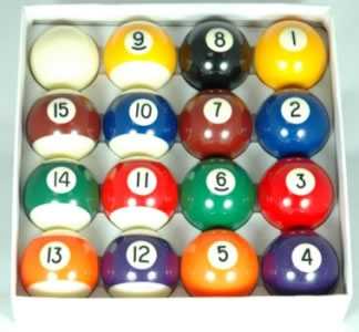 1 7/8in Spots & Stripes Pool Balls